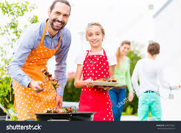 Family Garden Father Daughter Barbecue Meat Spits Sausages Stock Photo 244577632