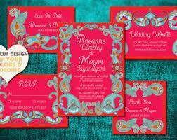 indian wedding invitation paisley henna indian wedding invitation set boho design save
