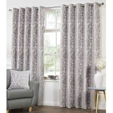 Demask Curtains Camden Damask Silver Woven Chenille Lined Eyelet Curtains Dove Mill
