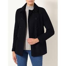 john lewis pea coat in black lyst