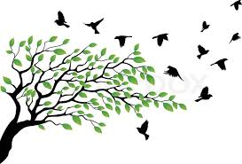 tree with bird flying stock vector colourbox