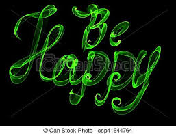 happy green color be happy isolated text written with flame fire light on stock