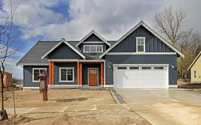 Craftsman Home Blue Siding Craftsman Style Home With Wood Posts And Front Door