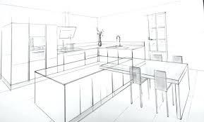 cuisine en perspective comment dessiner une cuisine dessin de plan de maison comment