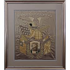Americana Flags Silkwork Embroidered Picture Americana Eagle Flags Cruise Of The