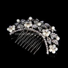 rhinestone hair silver plated alloy pearl and rhinestone flower bridal hair comb
