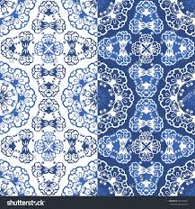 seamless blue floral pattern background style stock vector