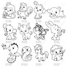 set of zodiac signs in cartoon style chinese zodiac vector