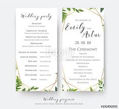 wedding card for wedding program card for ceremony and party with modern vector