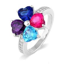 mothers rings 4 stones heart shaped mothers birthstone ring 4 heart shapes