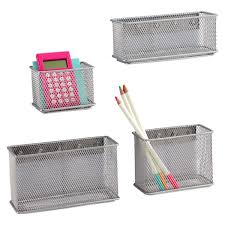 Magnetic Desk Organizer Magnetic Bins Silver Magnetic Mesh Bins The Container Store