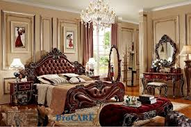 american style bedroom furniture set with red real leather solid