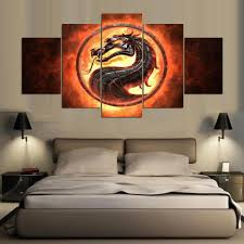 dragon home decor abstract large poster hd printed painting canvas print art 5 panel