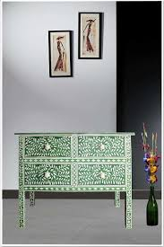 Green Console Table Green Bone Inlay Four Drawer Console Table Luxury Bone Inlaid