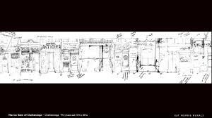 kat morris murals best chattanooga mural painter this is a copy of the original rough sketch of how i was going to deal with 80 of storefronts on the back wall of the car barn mural