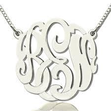 large monogram necklace custom large monogram necklace painted sterling silver