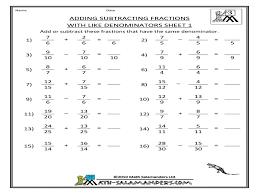 adding and subtracting fractions worksheets 4th grade best 10