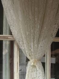 White Lace Shower Curtain by Long White Lace Curtain Combined With Broken White Ribbon As Well