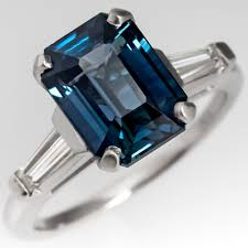 natural sapphire rings images 4 carat emerald cut natural blue green sapphire ring platinum jpg