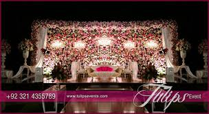 wedding backdrop setup grand floral backdrop engagement stage setup in pakistan 07