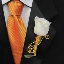 gold boutonniere wedding boutonniere with gold wire accents