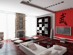 Red Accent Wall by Modern Minimalis Interior Design White Floor Cushions White Modern