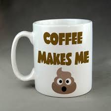 coffee makes me poop emoji funny geek nerd mug meme open