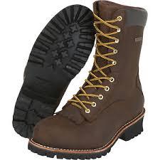 s boots size 9 1 2 gravel gear 10in waterproof steel toe logger work boots brown