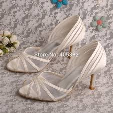 wedding shoes online uk wedopus new style open toe bridal ivory satin wedding shoes mid