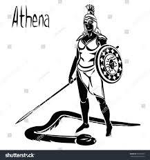 goddess greek athena roman minerva black stock vector 569593063