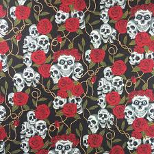 skull wrapping paper discover direct skulls roses cotton fabric black