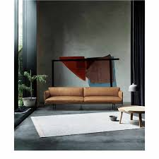 Esszimmerst Le Leder Cognac Muuto Outline 3er Sofa Exklusive Designklassiker