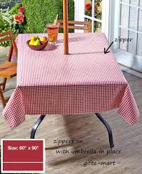 Outdoor Tablecloth With Hole For Umbrella by Red 90