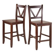 24 Inch Bar Stools With Back Amazon Com Winsome Victor 2 Piece V Back Counter Stools 24 Inch