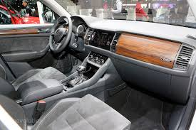 skoda kodiaq skoda kodiaq sportline and scout show carbon and wood interiors in