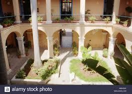 spanish house courtyard of old spanish house in havana cuba stock photo