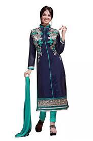 online shopping blue colour chanderi embroidery designer dress