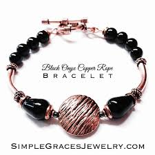 copper jewelry bracelet images Black onyx copper rope bracelet jpg