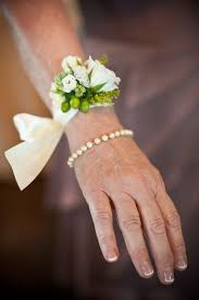 wedding wrist corsage shabby chic simple white and green wrist corsages search