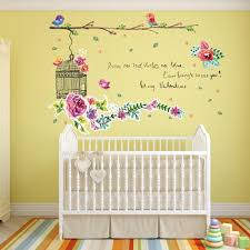 flowers birds tree green leaves birdcage wall sticker decal home flowers birds tree green leaves birdcage wall sticker decal home paper pvc murals house wallpaper bedroom