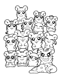 free hamtaro characters coloring pages animal pages
