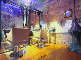 decorating retro hair salon design ideas with brick wall tiles and