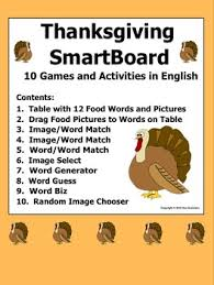 thanksgiving smartboard vocabulary and activities by sue