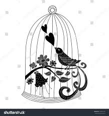 vector silhouette wall stickers bird cage stock vector 322241102 vector silhouette of wall stickers bird in a cage and flowers