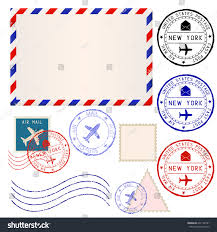 international mail envelope collection post stamps stock vector