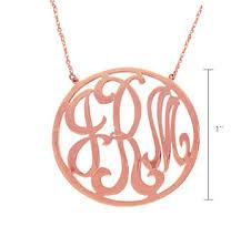 2 Inch Monogram Necklace 14k Rose Gold 1 Inch Rimmed Lace Monogram Necklace
