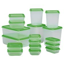 pruta food container set of 17 transparent green ikea