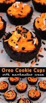 oreo cookie cups with marshmallow creme sprinkles halloween