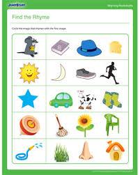 find the rhyme u2013 rhyming worksheet for kindergarten jumpstart