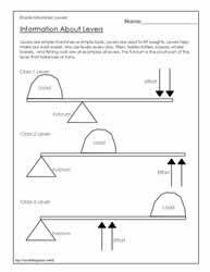 lever worksheetsworksheets